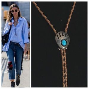 Sterling & Turquoise Bear Paw Bolo Tie Necklace